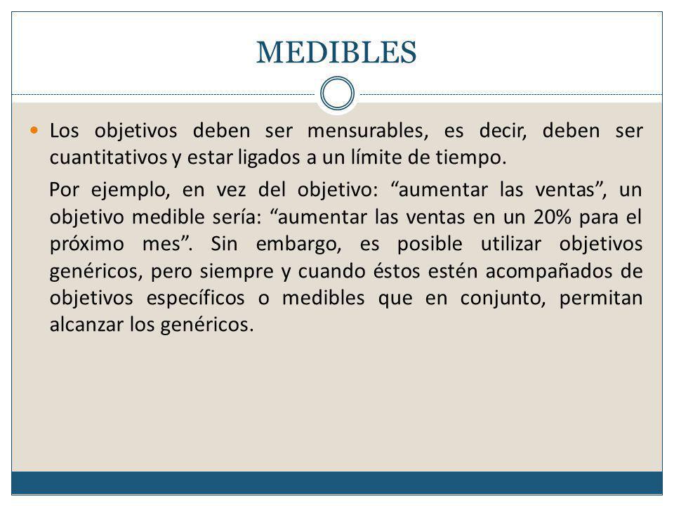MEDIBLES Los objetivos deben ser mensurables, es decir, deben ser cuantitativos y estar ligados a un límite de tiempo.