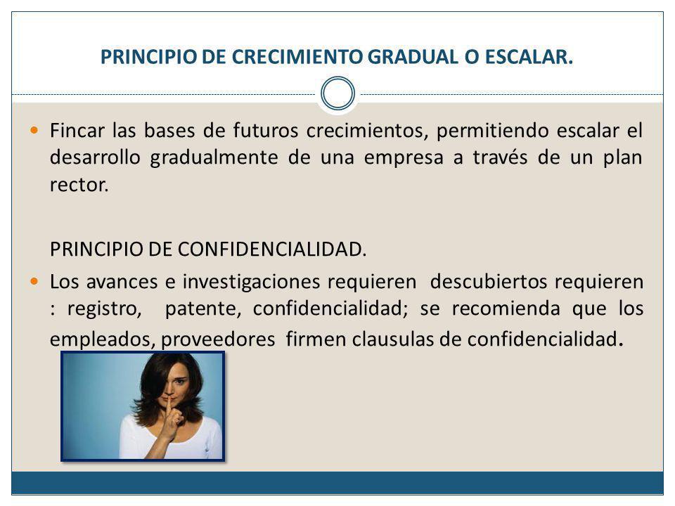 PRINCIPIO DE CRECIMIENTO GRADUAL O ESCALAR.