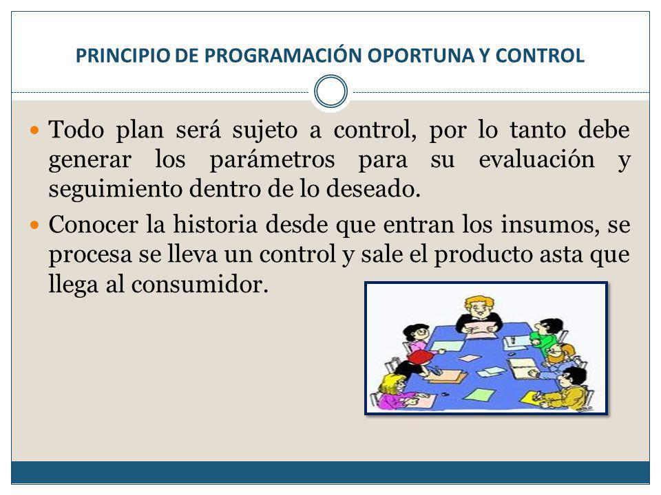 PRINCIPIO DE PROGRAMACIÓN OPORTUNA Y CONTROL