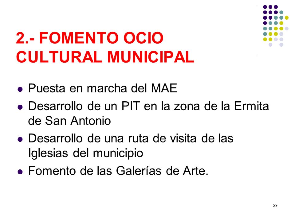 2.- FOMENTO OCIO CULTURAL MUNICIPAL