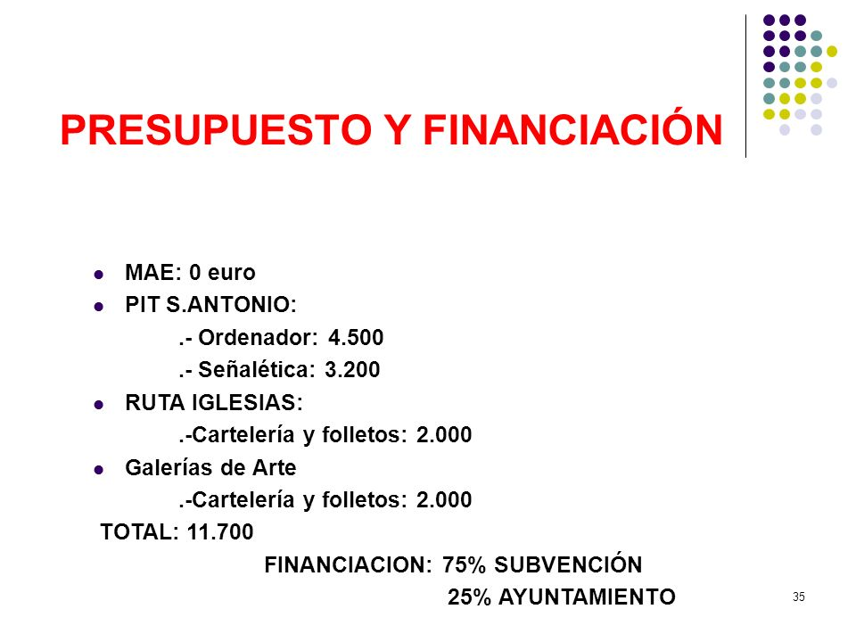 PRESUPUESTO Y FINANCIACIÓN