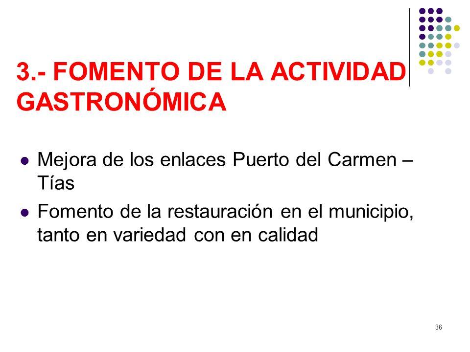 3.- FOMENTO DE LA ACTIVIDAD GASTRONÓMICA