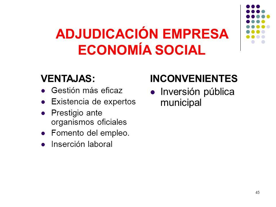 ADJUDICACIÓN EMPRESA ECONOMÍA SOCIAL