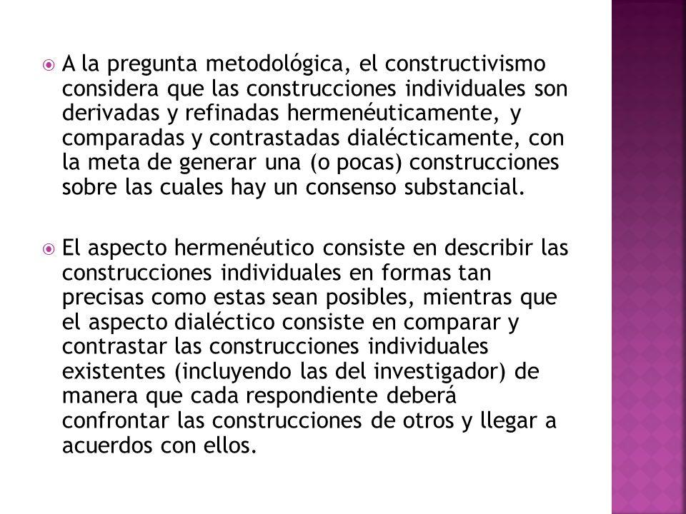 A la pregunta metodológica, el constructivismo considera que las construcciones individuales son derivadas y refinadas hermenéuticamente, y comparadas y contrastadas dialécticamente, con la meta de generar una (o pocas) construcciones sobre las cuales hay un consenso substancial.