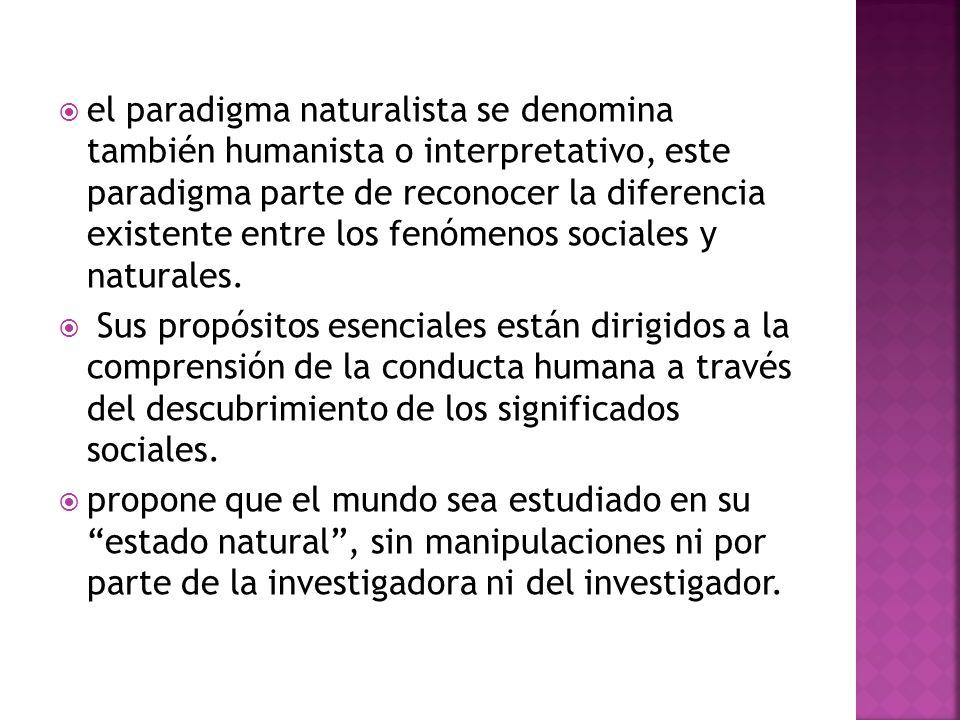 el paradigma naturalista se denomina también humanista o interpretativo, este paradigma parte de reconocer la diferencia existente entre los fenómenos sociales y naturales.