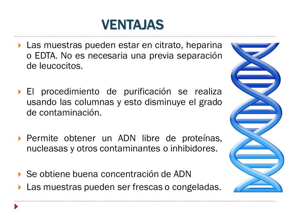VENTAJAS Las muestras pueden estar en citrato, heparina o EDTA. No es necesaria una previa separación de leucocitos.