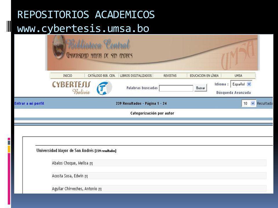 REPOSITORIOS ACADEMICOS www.cybertesis.umsa.bo