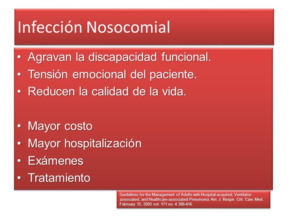 Infección Nosocomial Agravan la discapacidad funcional.