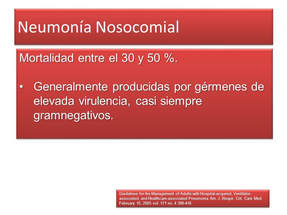 Neumonía Nosocomial Mortalidad entre el 30 y 50 %.