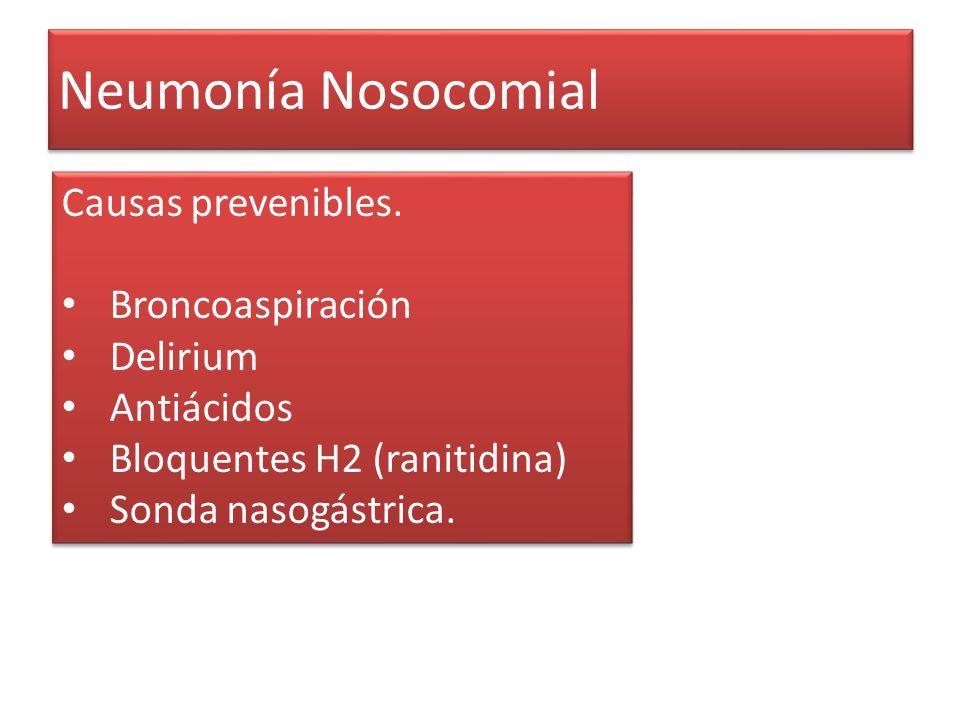 Neumonía Nosocomial Causas prevenibles. Broncoaspiración Delirium