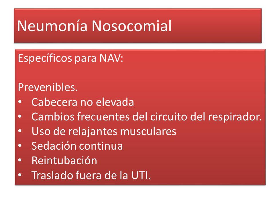 Neumonía Nosocomial Específicos para NAV: Prevenibles.
