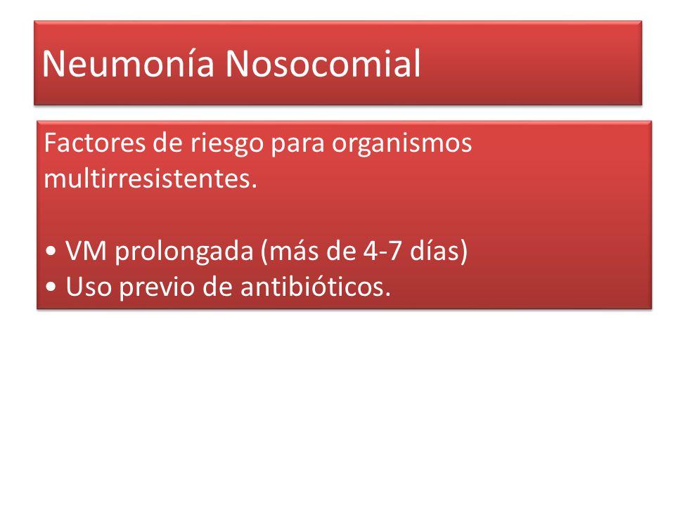 Neumonía Nosocomial Factores de riesgo para organismos multirresistentes. • VM prolongada (más de 4-7 días)