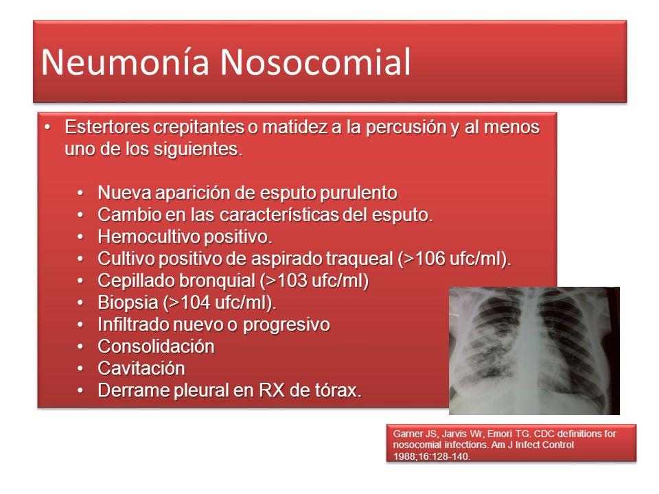 Neumonía Nosocomial Estertores crepitantes o matidez a la percusión y al menos uno de los siguientes.