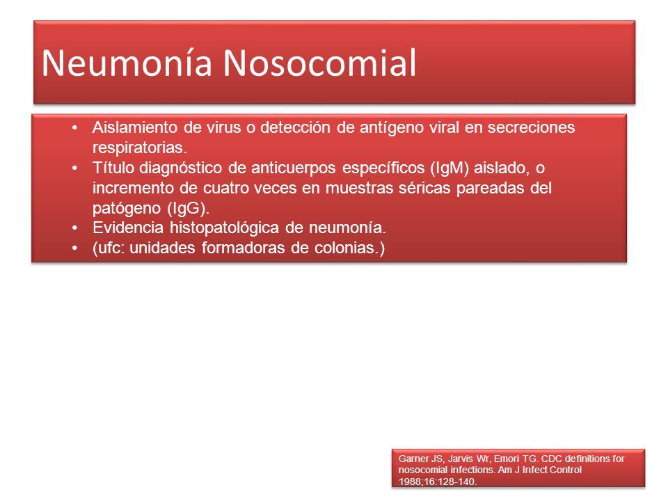 Neumonía Nosocomial Aislamiento de virus o detección de antígeno viral en secreciones respiratorias.