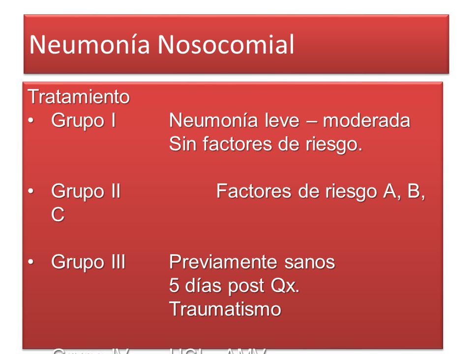 Neumonía Nosocomial Tratamiento Grupo I Neumonía leve – moderada