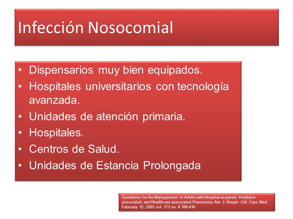 Infección Nosocomial Dispensarios muy bien equipados.