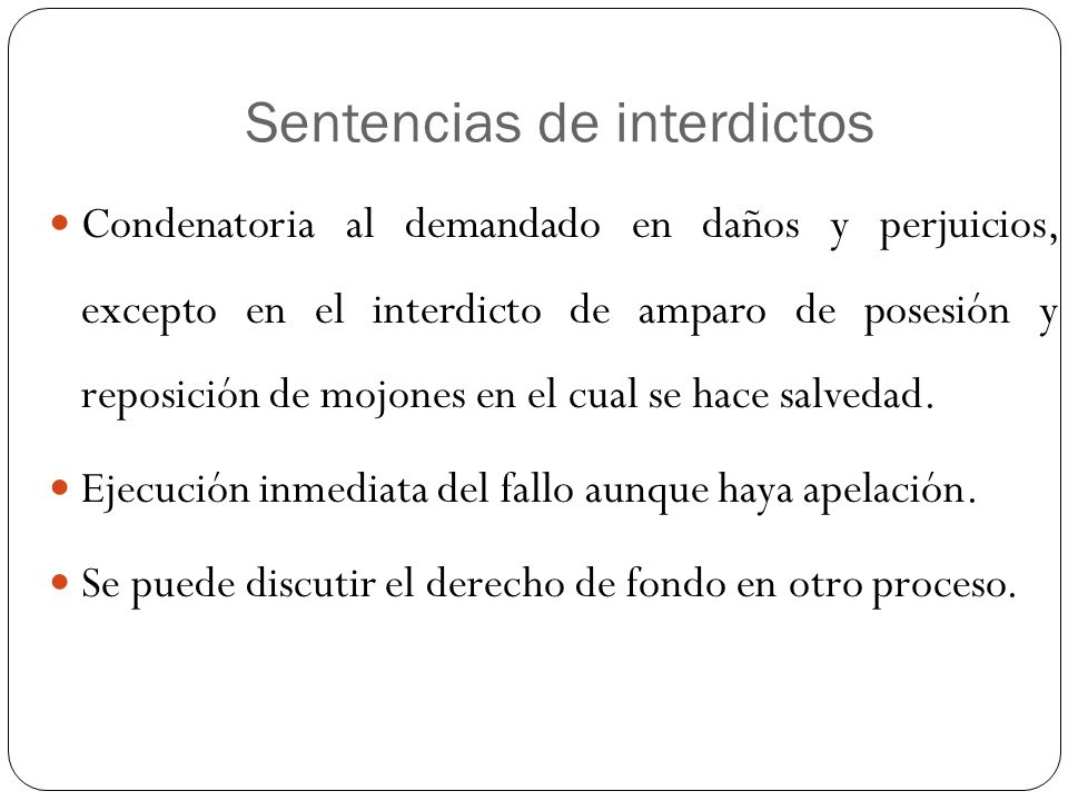 Sentencias de interdictos