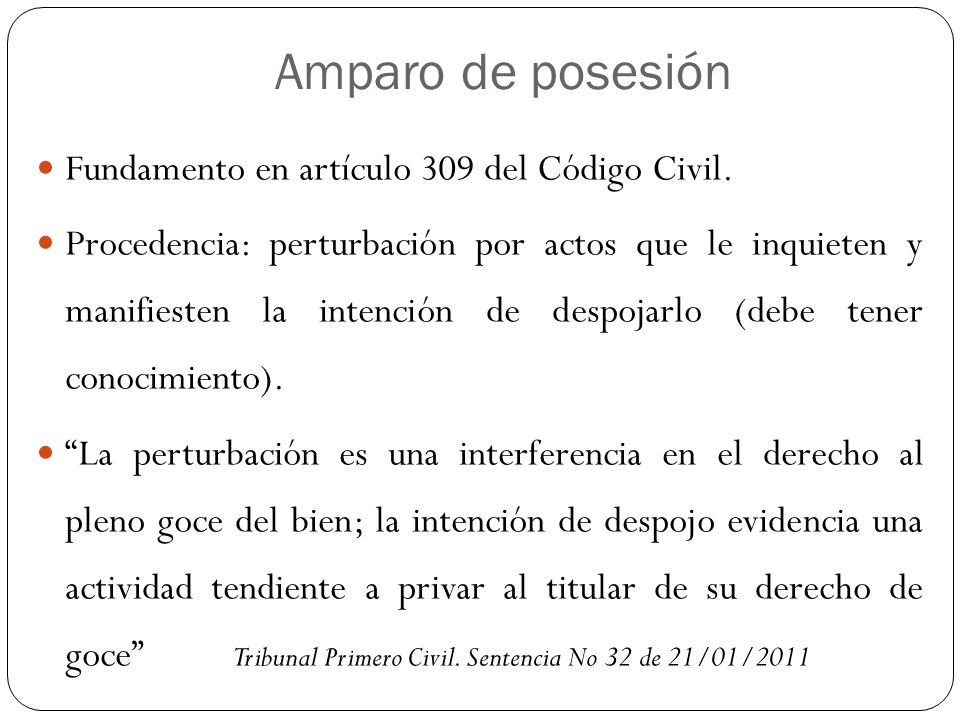 Amparo de posesión Fundamento en artículo 309 del Código Civil.