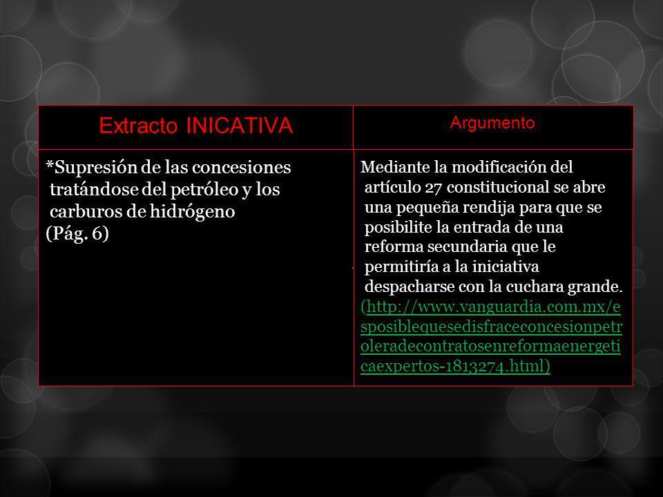 Extracto INICATIVA *Supresión de las concesiones