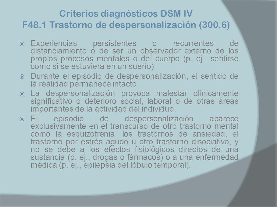 Criterios diagnósticos DSM IV F48