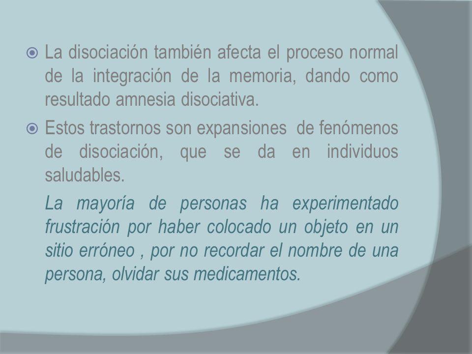 La disociación también afecta el proceso normal de la integración de la memoria, dando como resultado amnesia disociativa.
