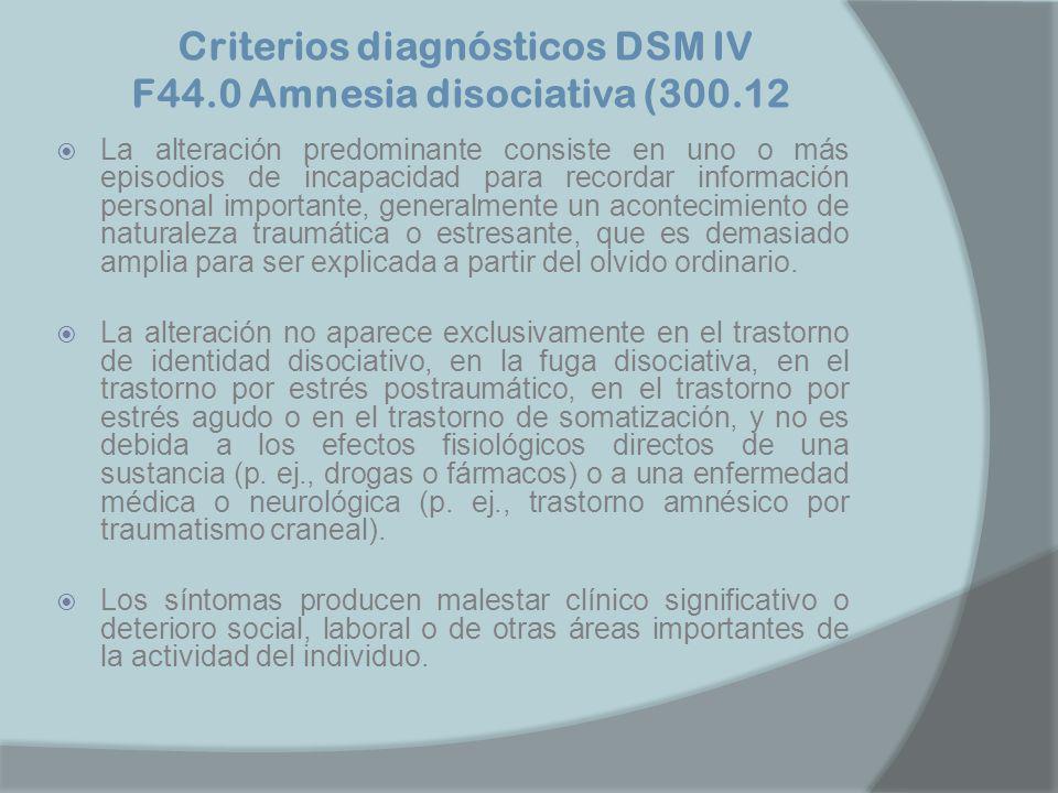 Criterios diagnósticos DSM IV F44.0 Amnesia disociativa (300.12