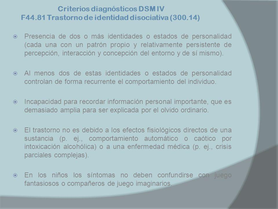 Criterios diagnósticos DSM IV F44