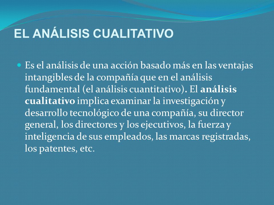 EL ANÁLISIS CUALITATIVO