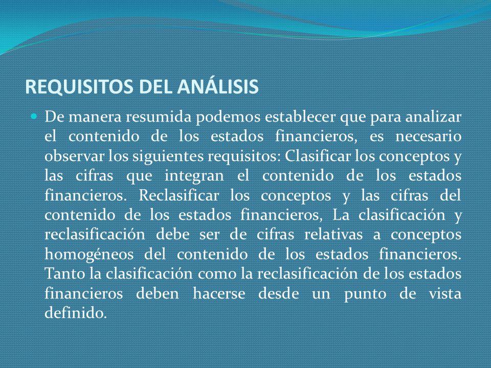REQUISITOS DEL ANÁLISIS