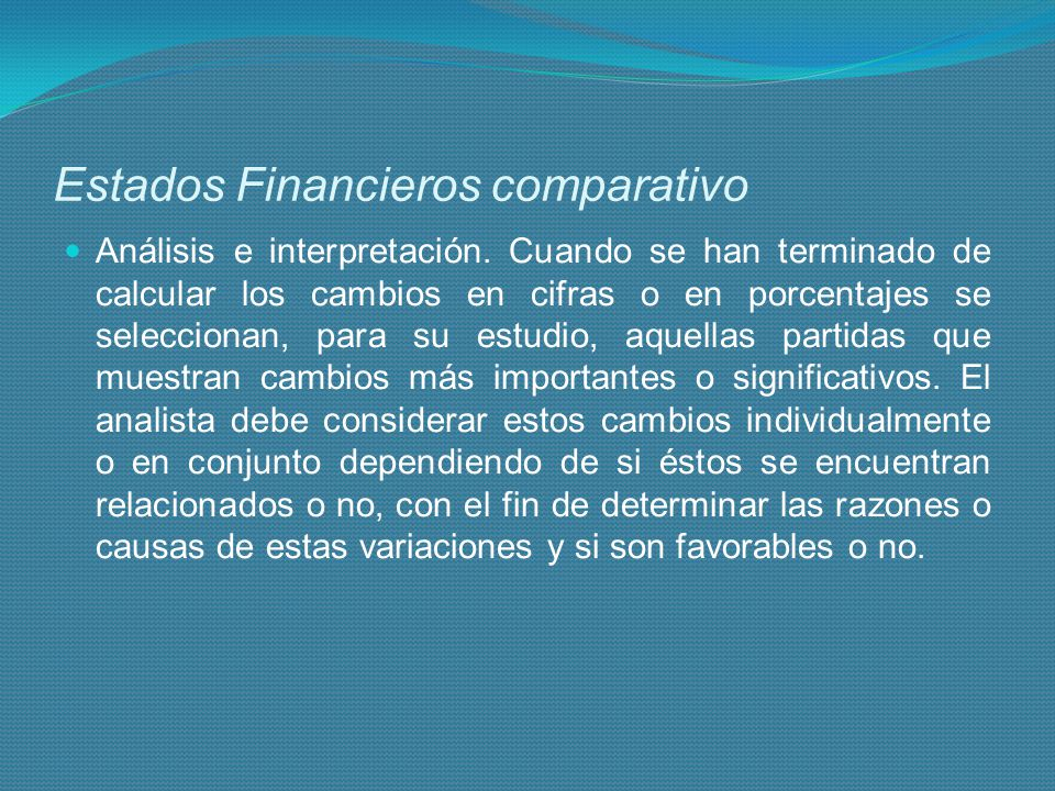 Estados Financieros comparativo