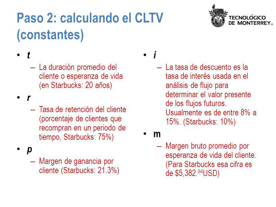 Paso 2: calculando el CLTV (constantes)