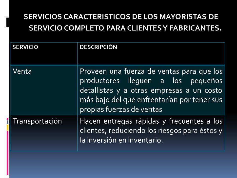 SERVICIOS CARACTERISTICOS DE LOS MAYORISTAS DE SERVICIO COMPLETO PARA CLIENTES Y FABRICANTES.