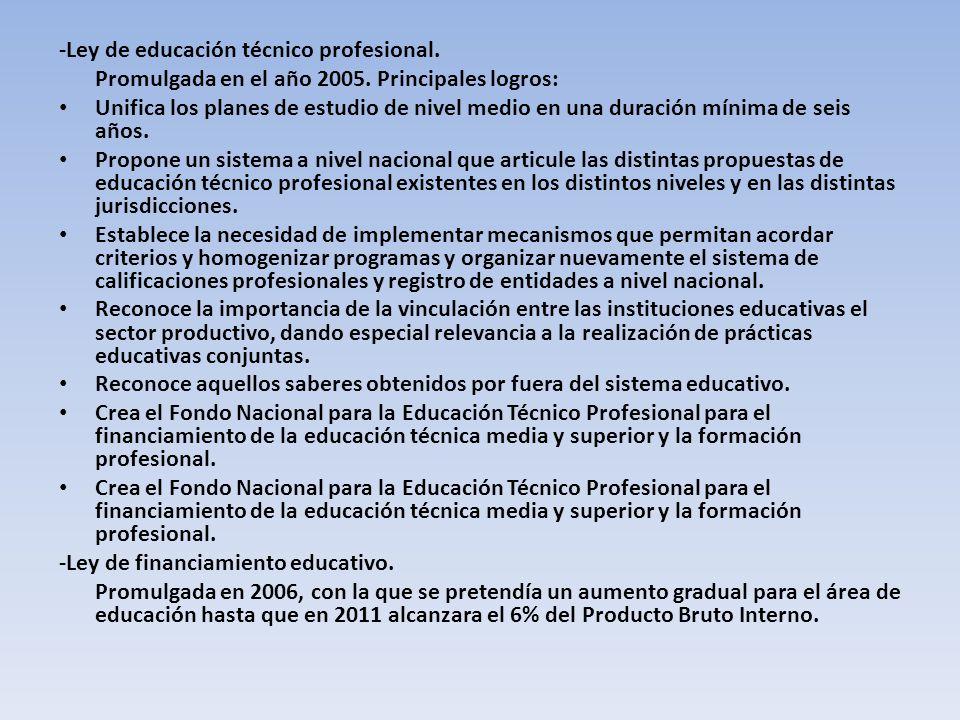 -Ley de educación técnico profesional.