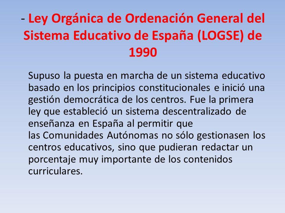 - Ley Orgánica de Ordenación General del Sistema Educativo de España (LOGSE) de 1990