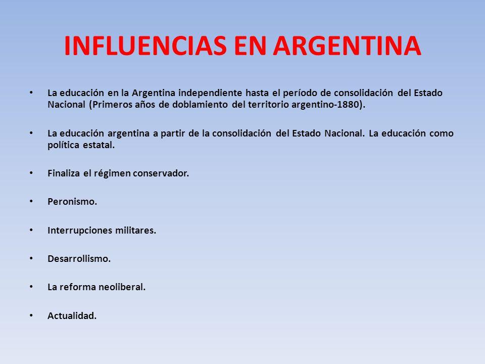 INFLUENCIAS EN ARGENTINA