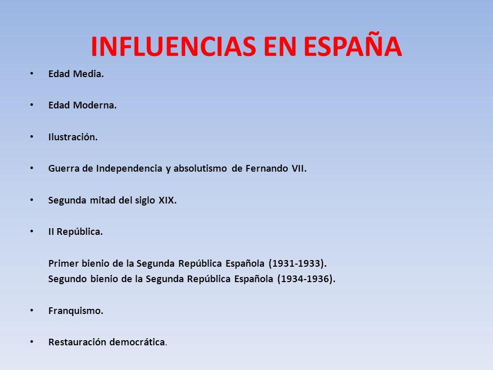INFLUENCIAS EN ESPAÑA Edad Media. Edad Moderna. Ilustración.