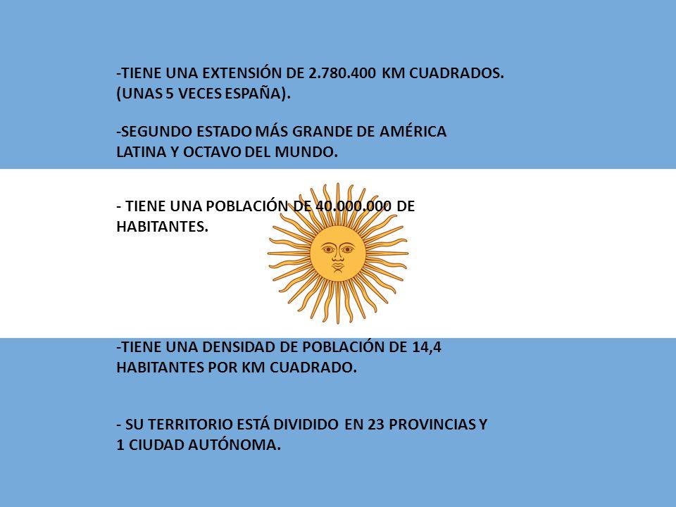 -TIENE UNA EXTENSIÓN DE 2.780.400 KM CUADRADOS. (UNAS 5 VECES ESPAÑA).