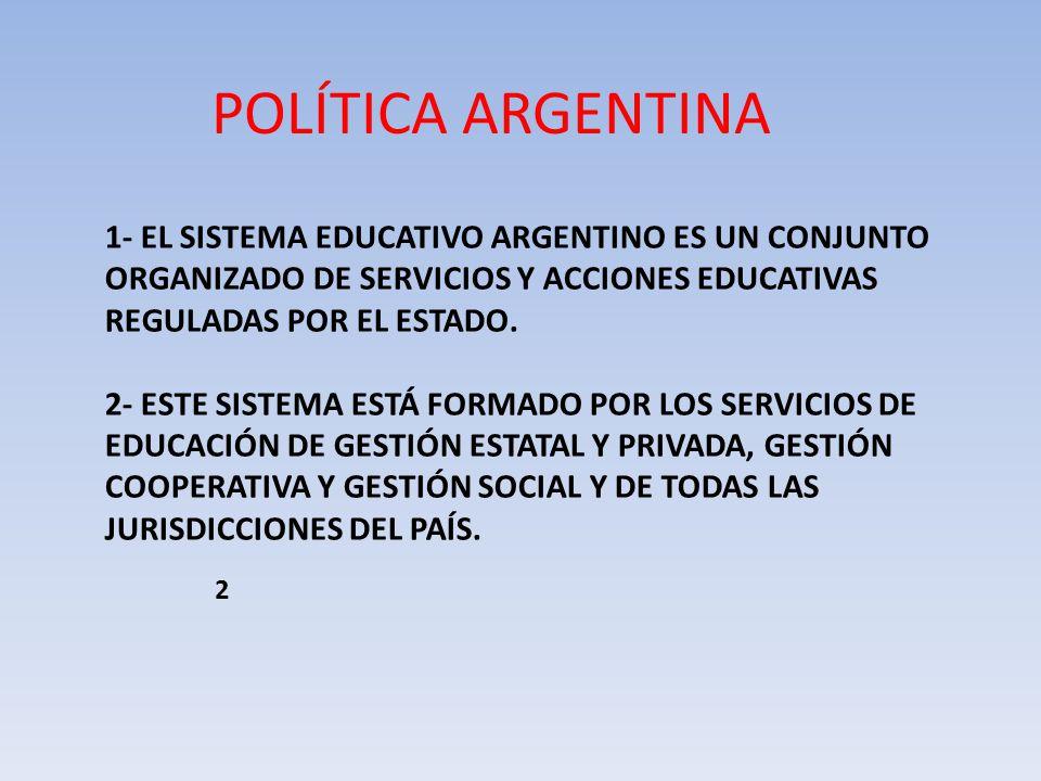 POLÍTICA ARGENTINA 1- EL SISTEMA EDUCATIVO ARGENTINO ES UN CONJUNTO ORGANIZADO DE SERVICIOS Y ACCIONES EDUCATIVAS REGULADAS POR EL ESTADO.