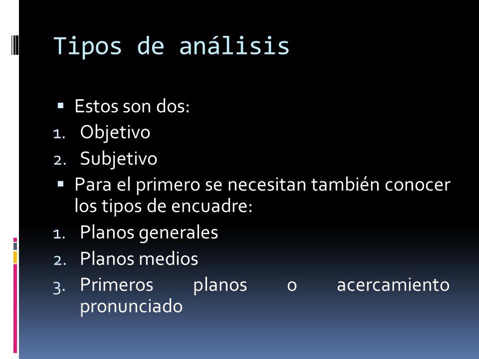 Tipos de análisis Estos son dos: Objetivo Subjetivo
