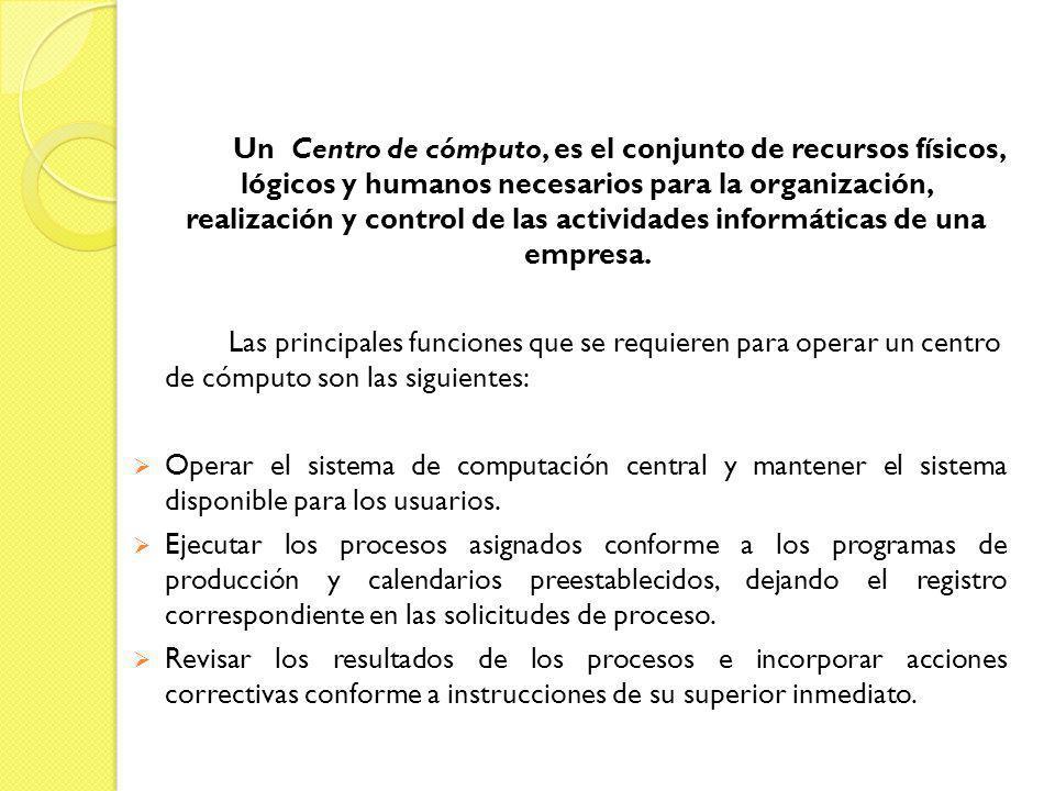 Un Centro de cómputo, es el conjunto de recursos físicos, lógicos y humanos necesarios para la organización, realización y control de las actividades informáticas de una empresa.