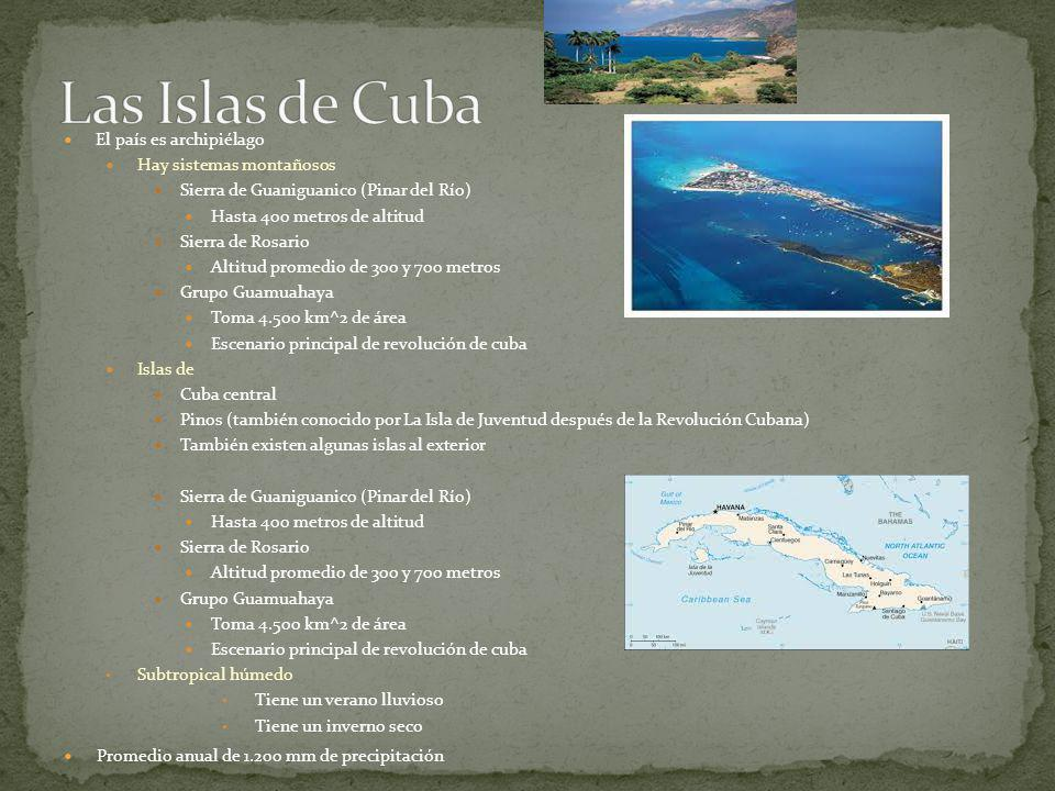 Las Islas de Cuba El país es archipiélago Hay sistemas montañosos