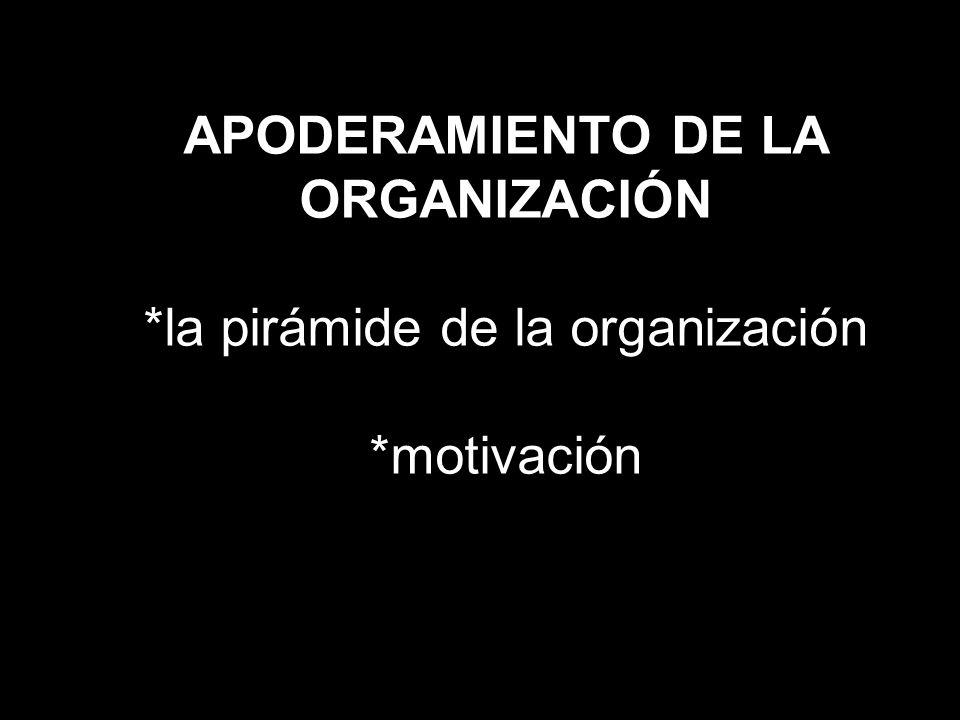 APODERAMIENTO DE LA ORGANIZACIÓN. la pirámide de la organización