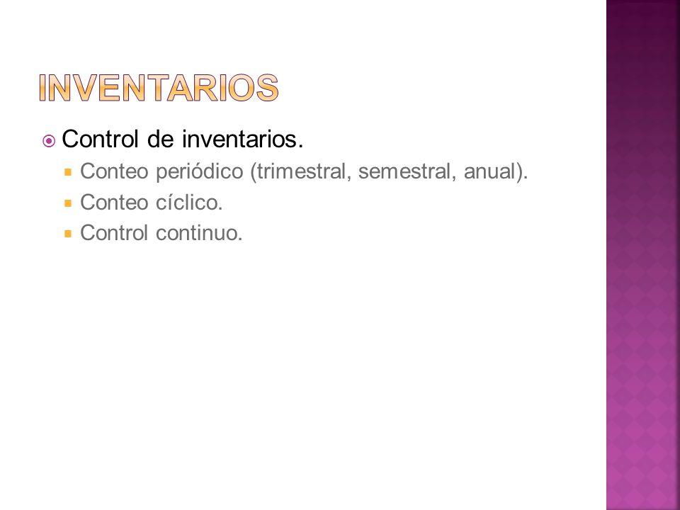 Inventarios Control de inventarios.