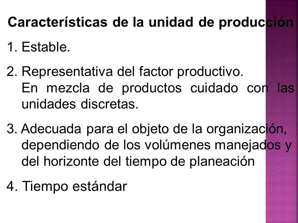 Características de la unidad de producción