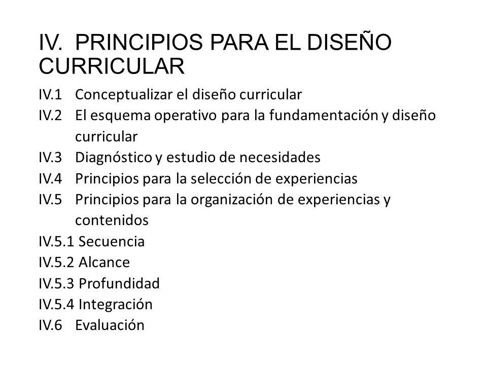 IV. PRINCIPIOS PARA EL DISEÑO CURRICULAR