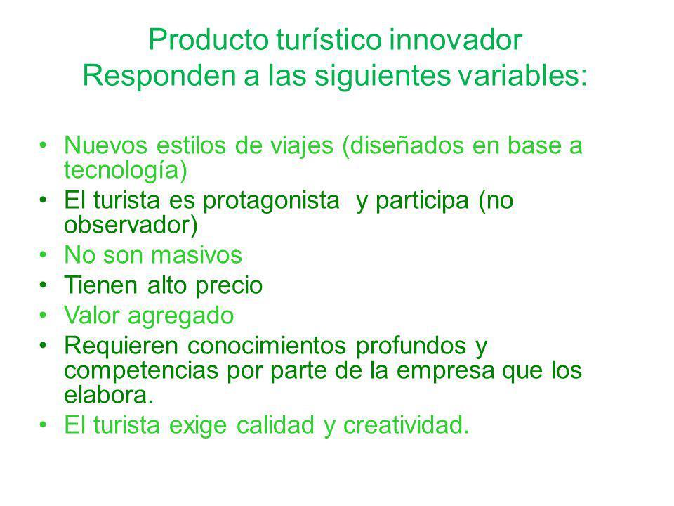 Producto turístico innovador Responden a las siguientes variables:
