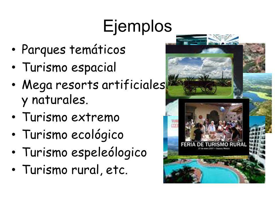 Ejemplos Parques temáticos Turismo espacial