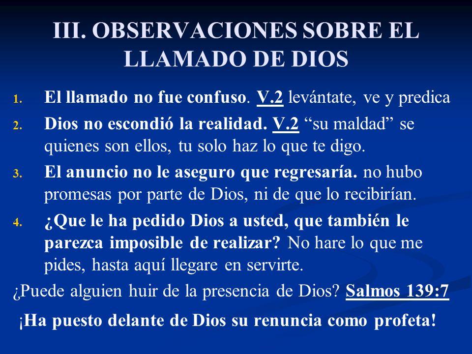 III. OBSERVACIONES SOBRE EL LLAMADO DE DIOS