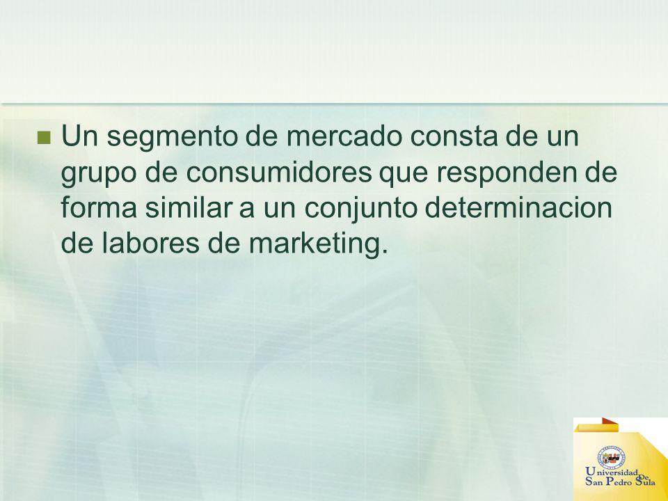 Un segmento de mercado consta de un grupo de consumidores que responden de forma similar a un conjunto determinacion de labores de marketing.