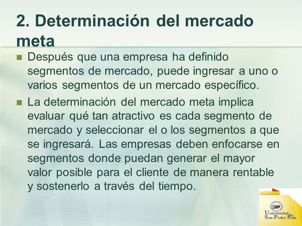 2. Determinación del mercado meta
